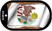 """Illinois State Flag Scroll Dog Tag Kit 2"""" Wholesale Metal Novelty Necklace"""