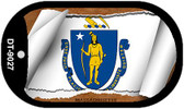 """Massachusetts State Flag Scroll Dog Tag Kit 2"""" Wholesale Metal Novelty Necklace"""