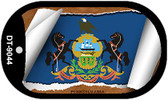 """Pennsylvania State Flag Scroll Dog Tag Kit 2"""" Wholesale Metal Novelty Necklace"""