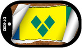 "St. Vincent Flag Country Flag Scroll Dog Tag Kit 2"" Wholesale Metal Novelty Necklace"