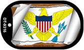 "US Virgin Islands Flag Country Flag Scroll Dog Tag Kit 2"" Wholesale Metal Novelty Necklace"