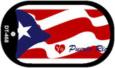 "I Love Puerto Rico Flag Country Flag Dog Tag Kit 2"" Wholesale Metal Novelty Necklace"