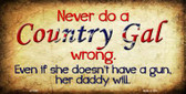 Country Gal Wrong Novelty Wholesale Metal License Plate