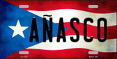 Anasco Puerto Rico Flag Background License Plate Metal Novelty Wholesale