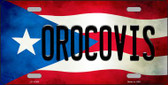 Orocovis Puerto Rico Flag Background License Plate Metal Novelty Wholesale