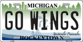 Go Wings Michigan State Wholesale Metal Novelty License Plate LP-2809