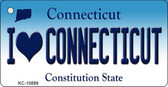 I Love Connecticut State License Plate Wholesale Key Chain KC-10889