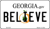 Believe Georgia State License Plate Novelty Wholesale Magnet M-6169