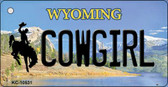 Cowgirl Wyoming State License Plate Wholesale Key Chain