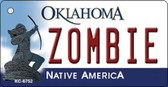 Zombie Oklahoma State License Plate Novelty Wholesale Key Chain KC-6752