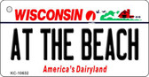 At The Beach Wisconsin License Plate Novelty Wholesale Key Chain KC-10632