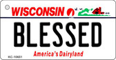 Blessed Wisconsin License Plate Novelty Wholesale Key Chain KC-10651