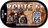 Route 66 Mother Road Motor Cycle Novelty Wholesale Dog Tag Necklace DT-4670