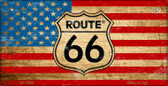 RT 66 American Flag Novelty Wholesale Bicycle License Plate BP-7869