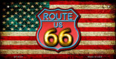 Route 66 American Flag Neon Novelty Wholesale Bicycle License Plate BP-8521