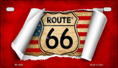 RT 66 Flag Scroll Novelty Wholesale Motorcycle License Plate MP-9006