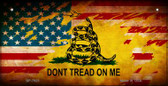 Don't Tread On Me AM Flag Novelty Wholesale Bicycle Plate BP-7925