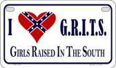 I Love GRITS Novelty Wholesale Motorcycle License Plate MP-027
