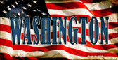Washington US Flag Wholesale Novelty Bicycle Plate BP-3658