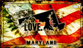 Maryland Love & Wings Wholesale Novelty Motorcycle Plate MP-8606