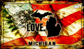 Michigan Love & Wings Wholesale Novelty Motorcycle Plate MP-8608