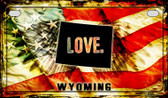 Wyoming Love & Wings Wholesale Novelty Motorcycle Plate MP-8636