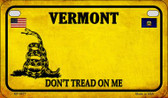 Vermont Do Not Tread Wholesale Novelty Motorcycle Plate MP-8877