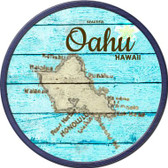 Oahu Hawaii Map Wholesale Novelty Metal Circular Sign C-820