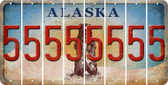 Alaska 5 Cut License Plate Strips (Set of 8) LPS-AK1-032