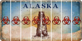 Alaska BIO HAZARD Cut License Plate Strips (Set of 8) LPS-AK1-084