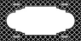 Black White Quatrefoil Center Scallop Wholesale Metal Novelty License Plate LP-4296