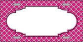 Pink White Quatrefoil Center Scallop Wholesale Metal Novelty License Plate LP-4297