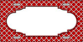 Red White Quatrefoil Center Scallop Wholesale Metal Novelty License Plate LP-4302