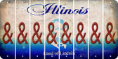 Illinois AMPERSAND Cut License Plate Strips (Set of 8) LPS-IL1-049