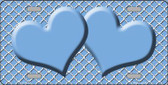 Light Blue White Quatrefoil Light Blue Center Hearts Wholesale Metal Novelty License Plate LP-4336