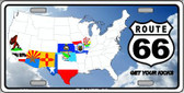 Route 66 8 Flags Clouds Wholesale Metal Novelty License Plate