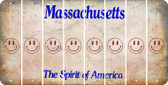 Massachusetts SMILEY FACE Cut License Plate Strips (Set of 8) LPS-MA1-089