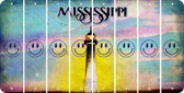 Mississippi SMILEY FACE Cut License Plate Strips (Set of 8) LPS-MS1-089