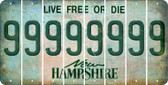 New Hampshire 9 Cut License Plate Strips (Set of 8) LPS-NH1-036