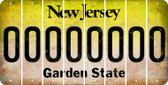 New Jersey 0 Cut License Plate Strips (Set of 8) LPS-NJ1-027