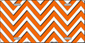 Orange White Chevron Wholesale Metal Novelty License Plate LP-4472