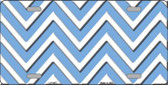Light Blue White Chevron Wholesale Metal Novelty License Plate LP-4477