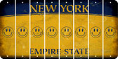 New York SMILEY FACE Cut License Plate Strips (Set of 8) LPS-NY1-089