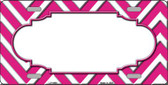 Pink White Chevron With Center Scallop Wholesale Metal Novelty License Plate LP-4498