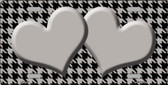 Grey Black Houndstooth Grey With Center Hearts Wholesale Metal Novelty License Plate LP-4580
