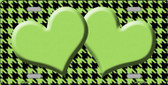 Lime Green Black Houndstooth With Lime Green Center Hearts Wholesale Metal Novelty License Plate LP-4584