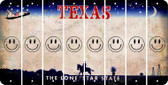 Texas SMILEY FACE Cut License Plate Strips (Set of 8) LPS-TX1-089