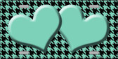 Mint Black Houndstooth With Mint Center Hearts Wholesale Metal Novelty License Plate LP-4587