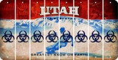 Utah BIO HAZARD Cut License Plate Strips (Set of 8) LPS-UT1-084