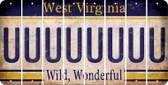 West Virginia U Cut License Plate Strips (Set of 8) LPS-WV1-021
